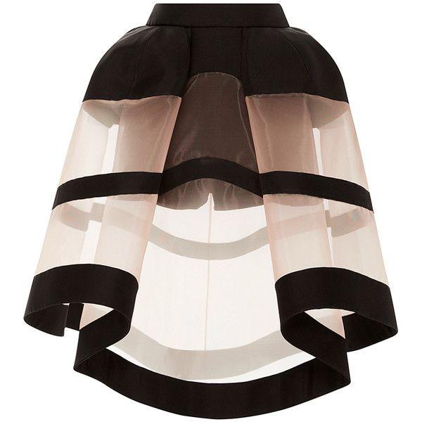 DELPOZO Crinoline Skirt found on Polyvore featuring skirts, sheer skirt, high rise skirts, high waisted skirts, see through skirt and high waisted knee length skirt