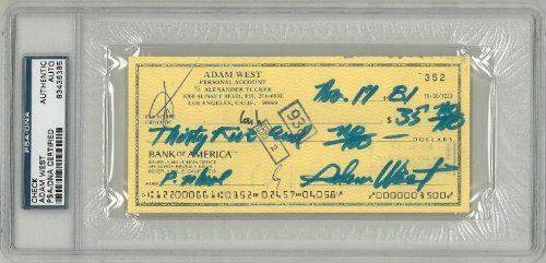 Adam West Signed Authentic Autographed Check Slabbed (PSA/DNA) #83436385