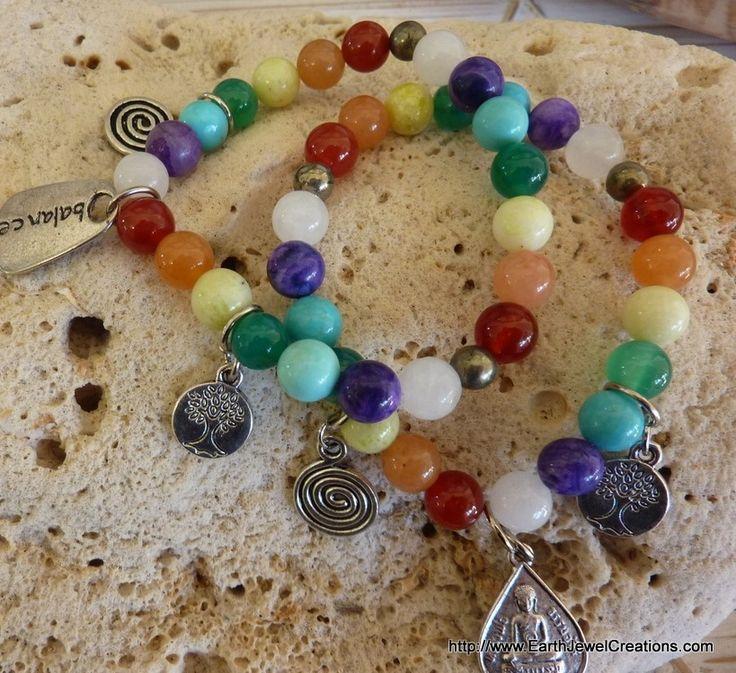 Chakra Balance Bracelet - Inspirational handmade gemstone jewellery Earth Jewel Creations Australia