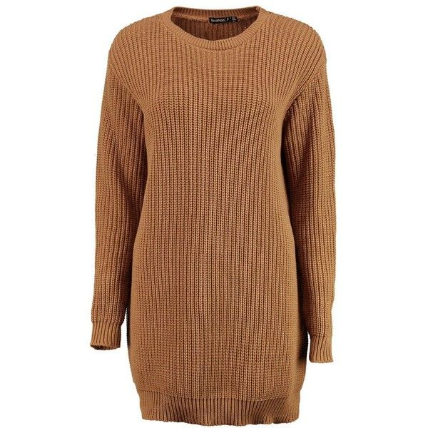 Boohoo Petite Emma Soft Knit Jumper Dress | Boohoo (225 SEK) ❤ liked on Polyvore featuring dresses, boohoo dresses, knit dress, brown dresses, brown knit dress and petite dresses
