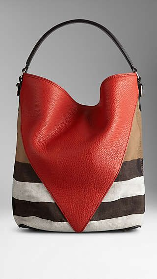 Borsa hobo media Canvas check con motivo a spina di pesce in pelle