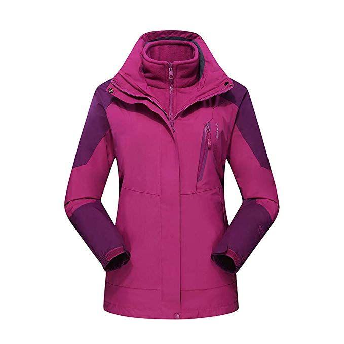 Womens Waterproof Jacket Windproof Hiking Outdoor Winter Hooded Ski Rain Coat