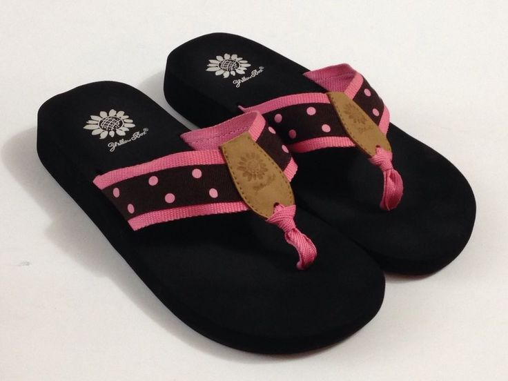 Yellow Box Flip Flops Thongs Sandals Pink Brown Dots SZ 8 EUC #YellowBox #FlipFlops #Casual