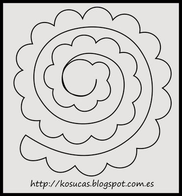 Patrón de rosa para fieltro.  Rose pattern for felt.