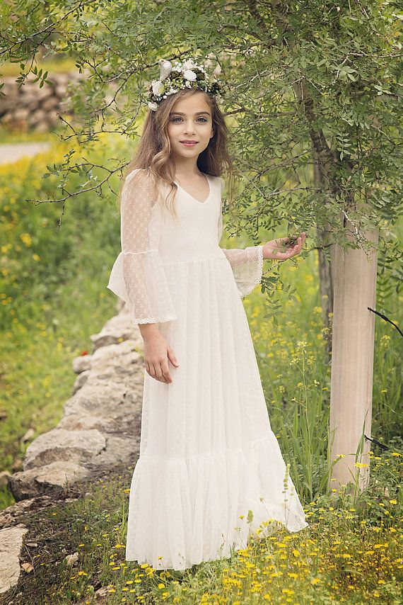 NEW INSTAGRAM FOLLOWERS RECEIVE 10% DISCOUNT- Simply follow our Instagram page, message me on Etsy & I'll send you the code!! https://www.instagram.com/bubaledresses This is a Boho style fresh off white lace super soft and delicate dress. The dress features 3/4 bell sleeves and made with made with soft, delicate lace that overlays bridal stretchy dress. It is finished at the sleeves and hem with a gorgeous matching lace trim. *V shaped front and back. ָ* Floor leng...