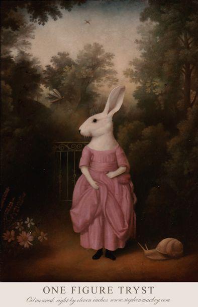 """""""Miss Coneja salió a caminar y en el bosque un oloroso y gigante animal se encontró..."""" stephen mackey // www.stephenmackey.com"""