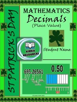 St Patrick's Day style decimals - place value worksheet printables - one lesson. Great resource.