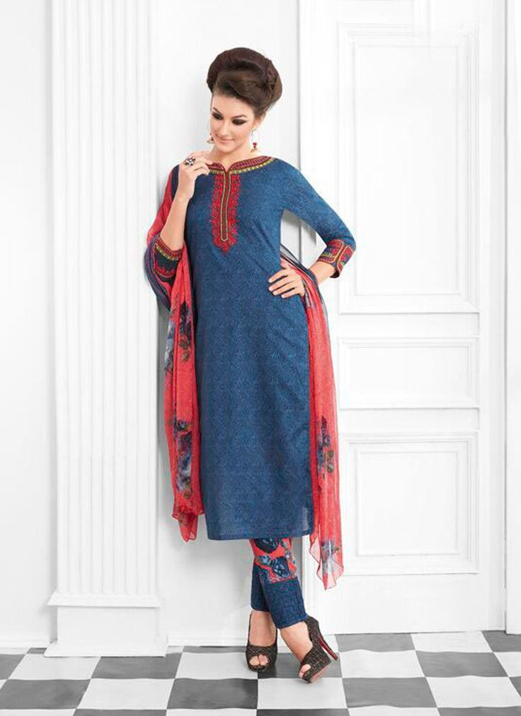 Featuring striking blue cotton silk designer suit with awe inspiring print work.It is paired with matching pants material and chiffon duppata. This outfit can be stitched upto size 44. For stitching enquiries, please email at customercare@hunardesigns.com   |…
