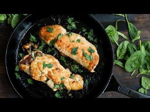 Baked fried Chicken - Low calorie chicken breast with a garlic and crouton coating - YouTube