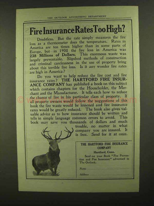 1909 Hartford Fire Insurance Ad Rates Too High Insurance Ads