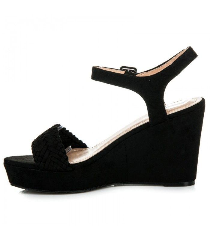 Pletené čierne sandále S-297B
