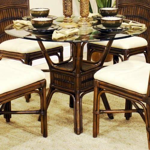 Rattan Kitchen Table: Hospitality Rattan 710-3160-ATQ-B Polynesian Indoor Rattan