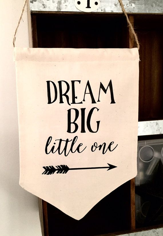 DREAM BIG Little One Wall Banner 11 x 7.5 handmade by DearOliva