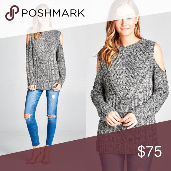 Cold Shoulder Top Get in on the cold shoulder sweater trend! This top is great for dates, holiday parties, work or weekend! It's comfortable fit means you'll keep grabbing for it from your closet! Marled grey knit. Sweaters