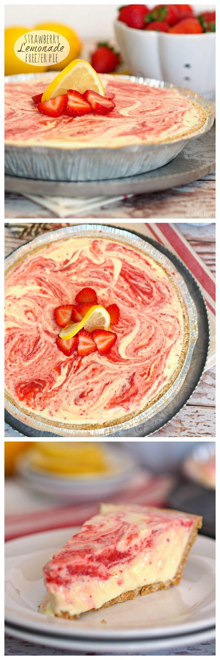 NO BAKE Strawberry Lemonade Freezer Pie! Easiest dessert you'll ever make.  My favorite! - The Cookie Rookie