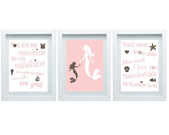 Mermaid Nursery Decor You Are My Sunshine Pink Brown Nursery Girl's room Wall Art Home Decor Kids room Set of 3 - 8x10 Prints Baby's room on Etsy, $35.00