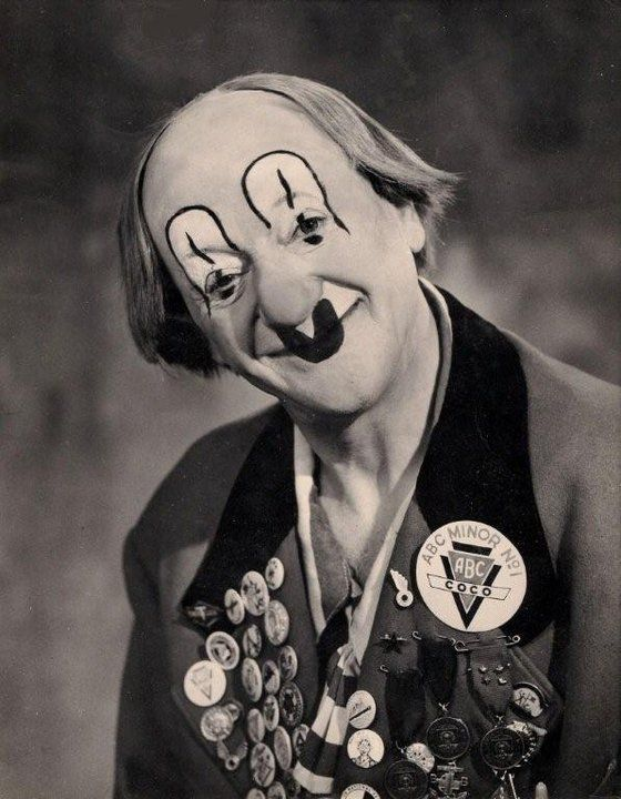 The famous Coco the clown. The great circus clown persona that was Coco who toured with Bertram Mills circus for many years. Very well known for his charity and promotional works.