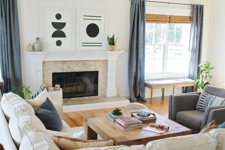 Details On My White Family Room: Paint, Curtains, Art + More. Sherwin-Williams Snowbound. Abstract Black & White Art. Linen Sectional Ikea. Waterfall Table. Indigo Curtains. City Farmhouse