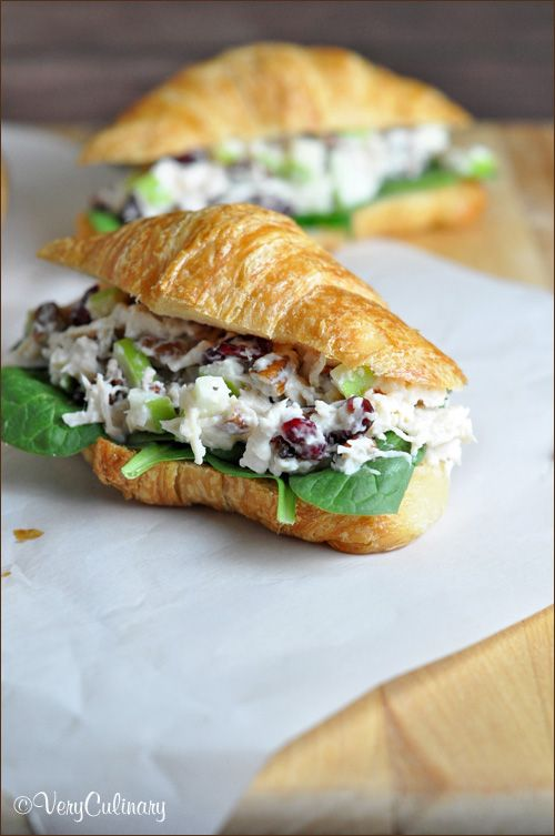 Chicken Salad Sandwich with Cranberries, Apples, and Pecans [ SkinnyFoxDetox.com ] #salad #skinny #health