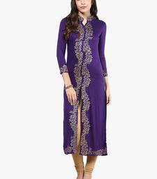 Buy women Viscose Knitted Purple Long Kurta Kurti long-kurti online