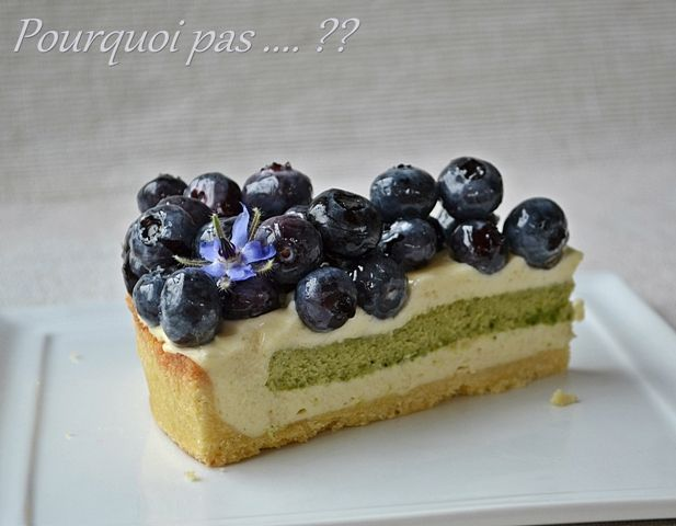 Pourquoi pas .... ??: Tarte myrtilles / crème vanille (Pierre Hermé) / pistache / citron vert
