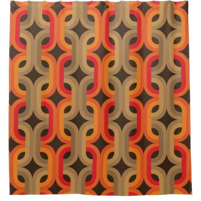Retro 70s Style Shower Curtain Zazzle Com Curtains Retro Home
