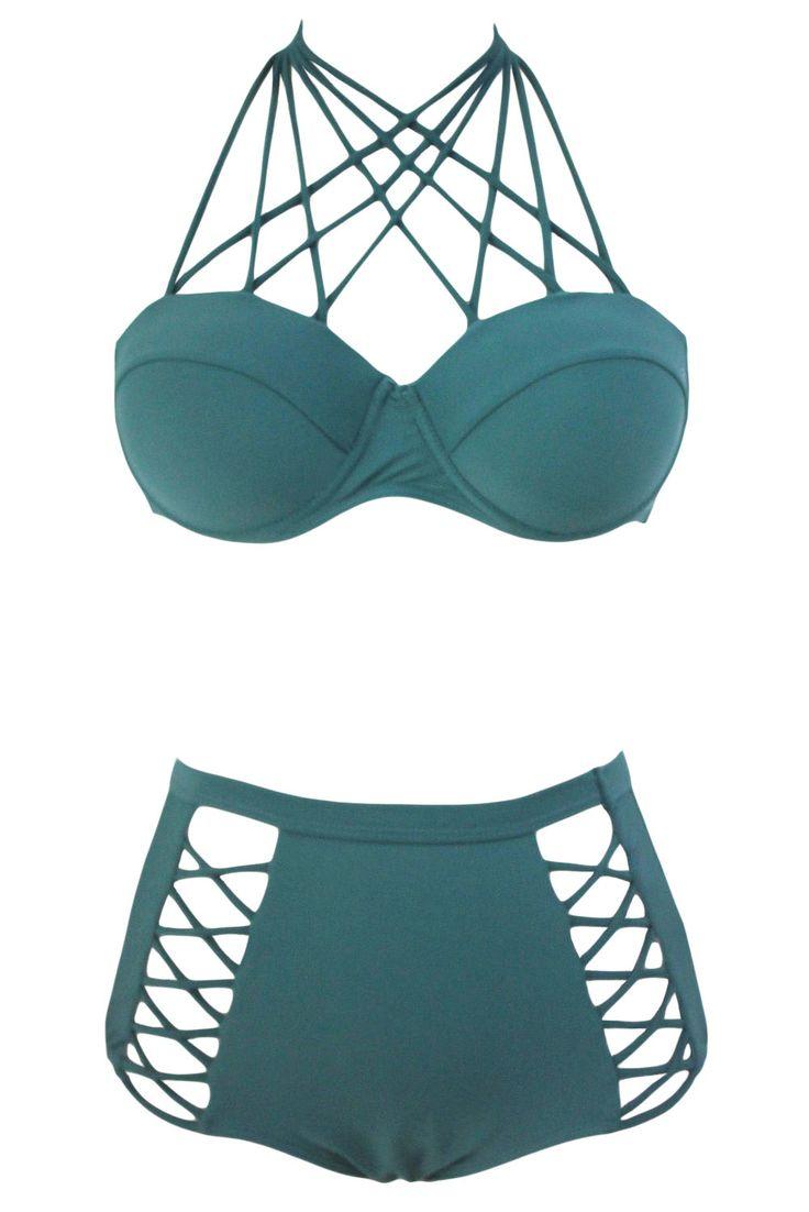 Chicloth Green Strappy Push-up High Waist Bikini Swimsuit