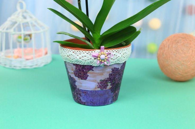 DIY Decoupage Lilac Flower Pot
