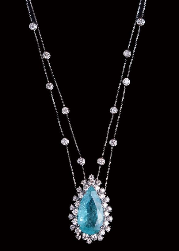 GABRIELLE'S AMAZING FANTASY CLOSET | Pear-Cut Paraiba Tourmaline & Diamond Pendant |