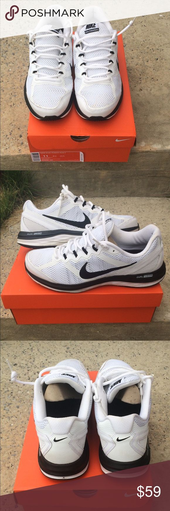 Nike Dual Fusion Run 3 Running Shoes Size 11 Gently worn pair of men's Nike Dual Fusion 3 Running Sneakers. Shoes feature the patented dual fusion midsole for maximum comfort and shock prevention in every step. Very lightweight shoes that look great . Mens size 11 Nike Shoes Sneakers