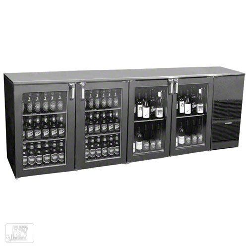 """Glastender ND92BR-R1-GSH(LRLR) 92"""" Glass Door Two Zone Back Bar Cooler by Glastender. $4664.99. Serving red wine just below room temperature and beer ice cold is a great way to create a following of regulars at the bar of any commercial foodservice operation. The 92"""" Glass Door Two Zone Back Bar Cooler (ND92BR-R1-GSH(LRLR)) from Glastender is designed to store both beer and red wine behind glass doors so guests can easily view the available selection. The beer c..."""