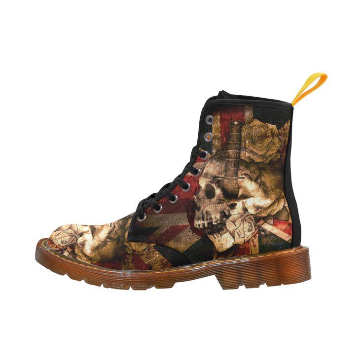 Grunge Skull and British Flag Martin Boots For Women Model 1203H