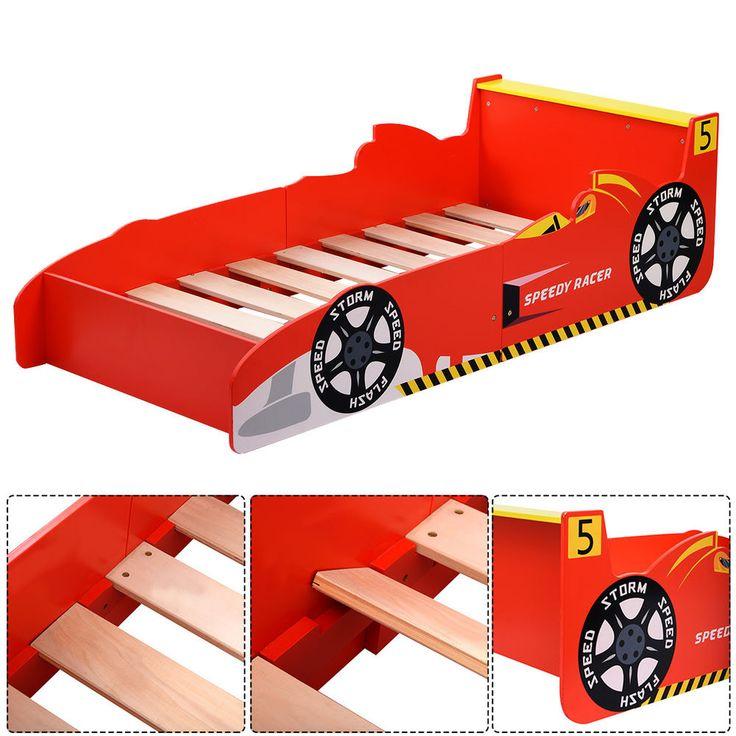 Kids Race Car Bed Toddler Bed Boys Child Furniture Bedroom Red Wooden New #Unbranded