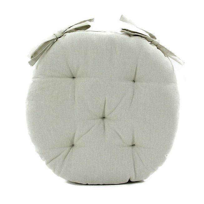 Alméra Galette de chaise ronde en coton beige D40cm