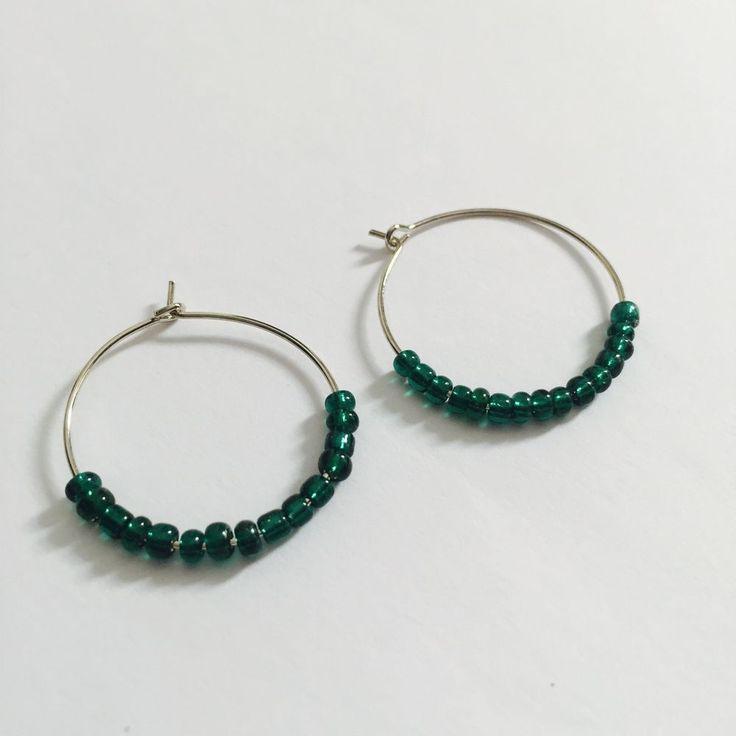 Emerald Green Seed Bead Silver Hoop Earrings , Boho, Beach ,Festival Earrings #Hoop