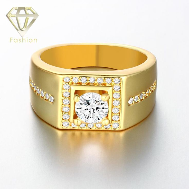 /Rose/White Gold Plated Men Ring, Square Shaped with Side Stones CZ  Wedding Ring