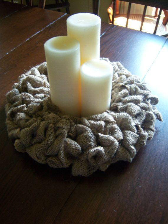 Burlap candle center pieces natural wreath
