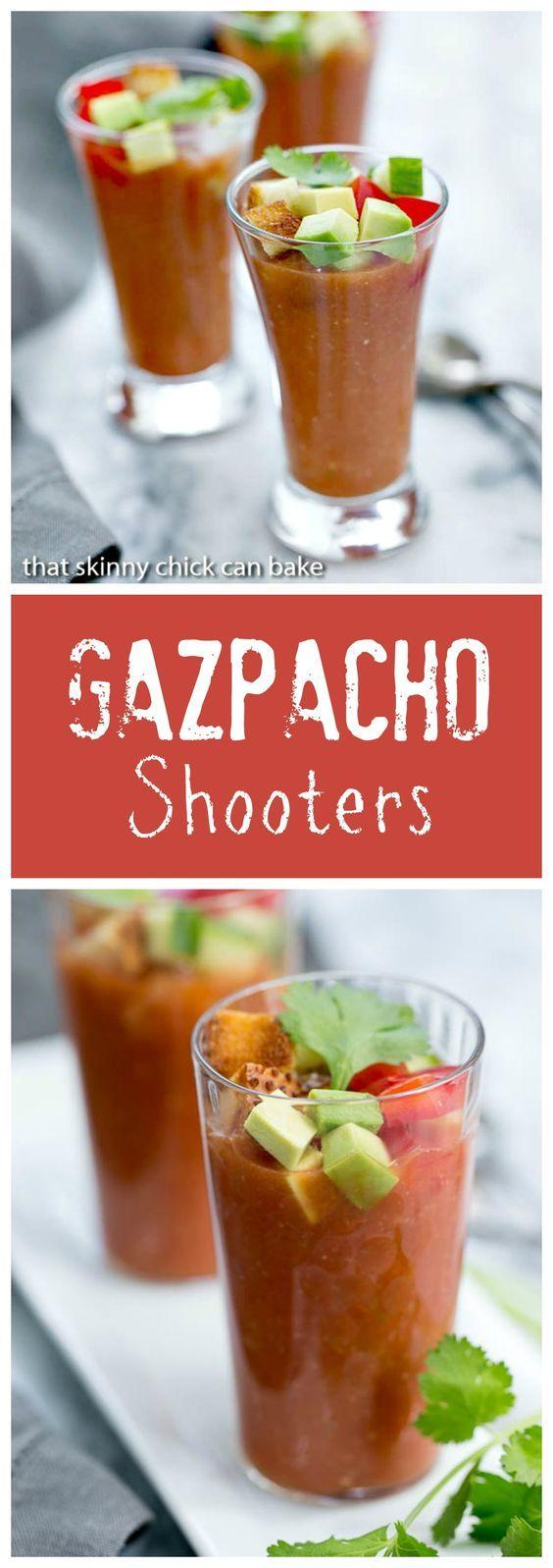 Gazpacho Shooters | Appetizer size portions of the classic Spanish gazpacho @lizzydo