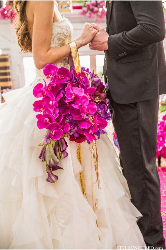 Pretty take on a bridal bouquet/ Via: Park Photography . Love this bridal bouquet idea ... Orchids bag