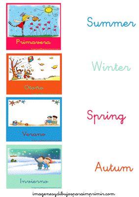 Las estaciones del año en Inglés para aprender-Imagenes y dibujos para imprimir