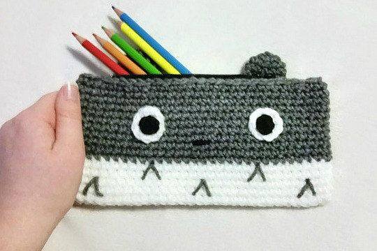 Totoro Crocheted Pencil Case Crochet Pencil by CrochetFromKatie