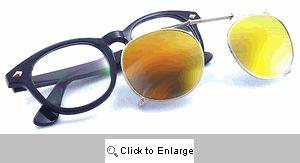 Flatbush Clip-On Wayfarer Glasses - 475 Black/Yellow