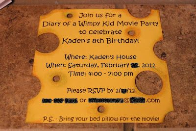 Diary of a Wimpy Kid Birthday Party invitation!! Yessss this WILL BE Isaiah's invites!!!!:)