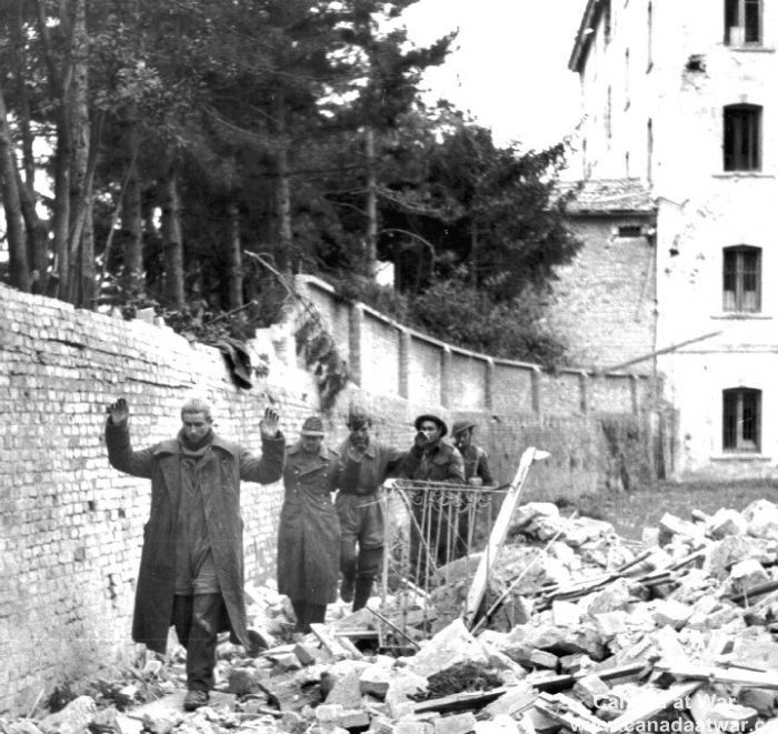 Ortona - German paratroops surrendering to Canadian soldiers, December 1943
