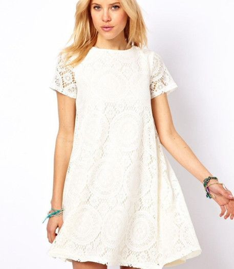 Short Sleeve Circle Lace Dress $26.99USD