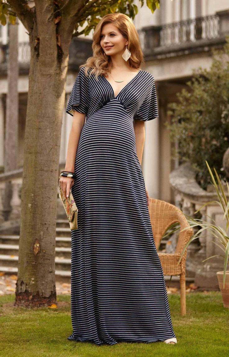 Celia Maxi Dress in Navy Stripe