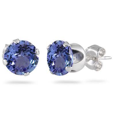 3.50 Carat Created 8MM Tanzanite Stud Earrings in .925 Sterling Silver
