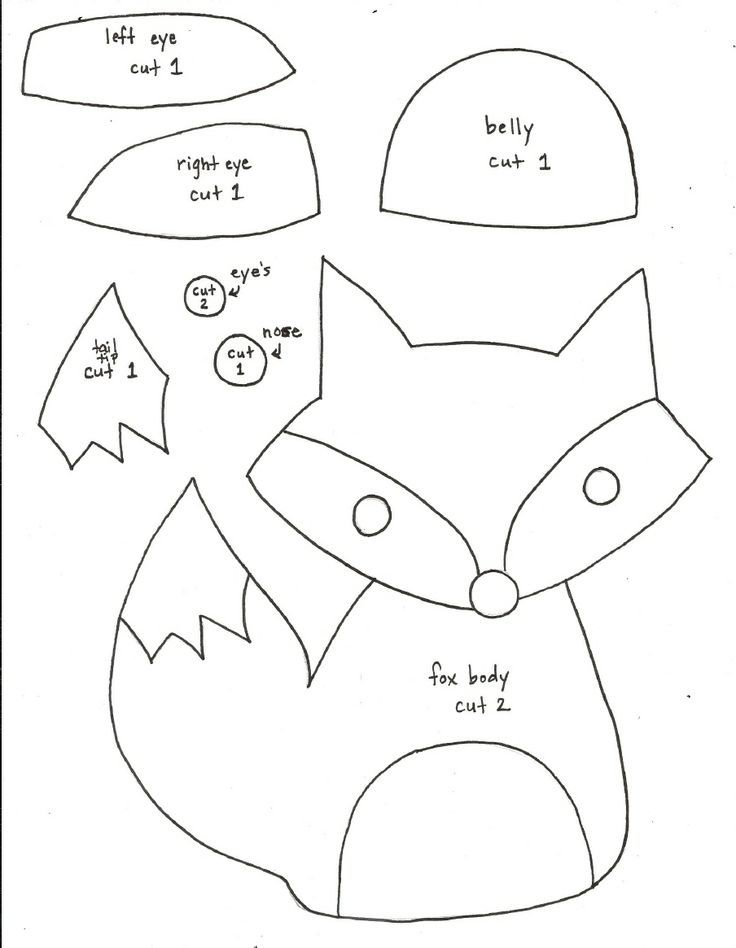 Printable Fox Pattern | Fox Softie Pattern - templates only (can't download without Scribd ...