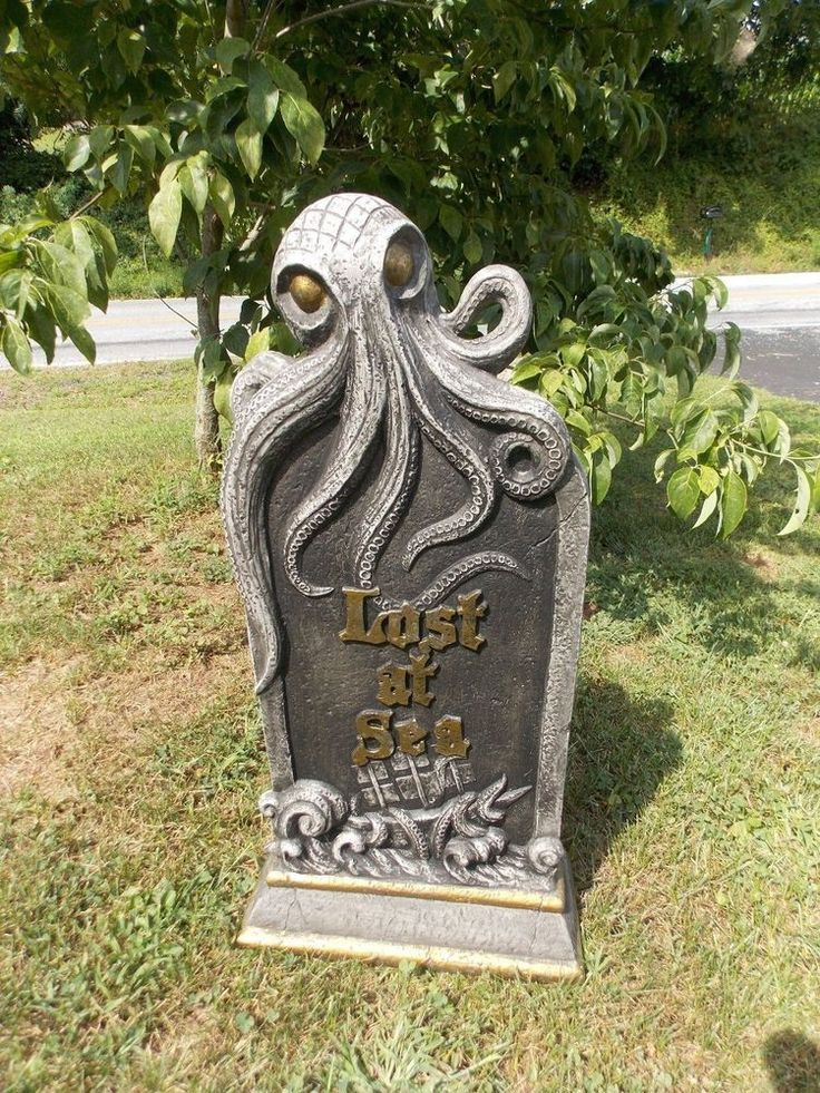 Halloween GRAVEYARD Weighted TOMBSTONE LOST AT SEA OCTOPUS PIRATE 3D REALISTIC