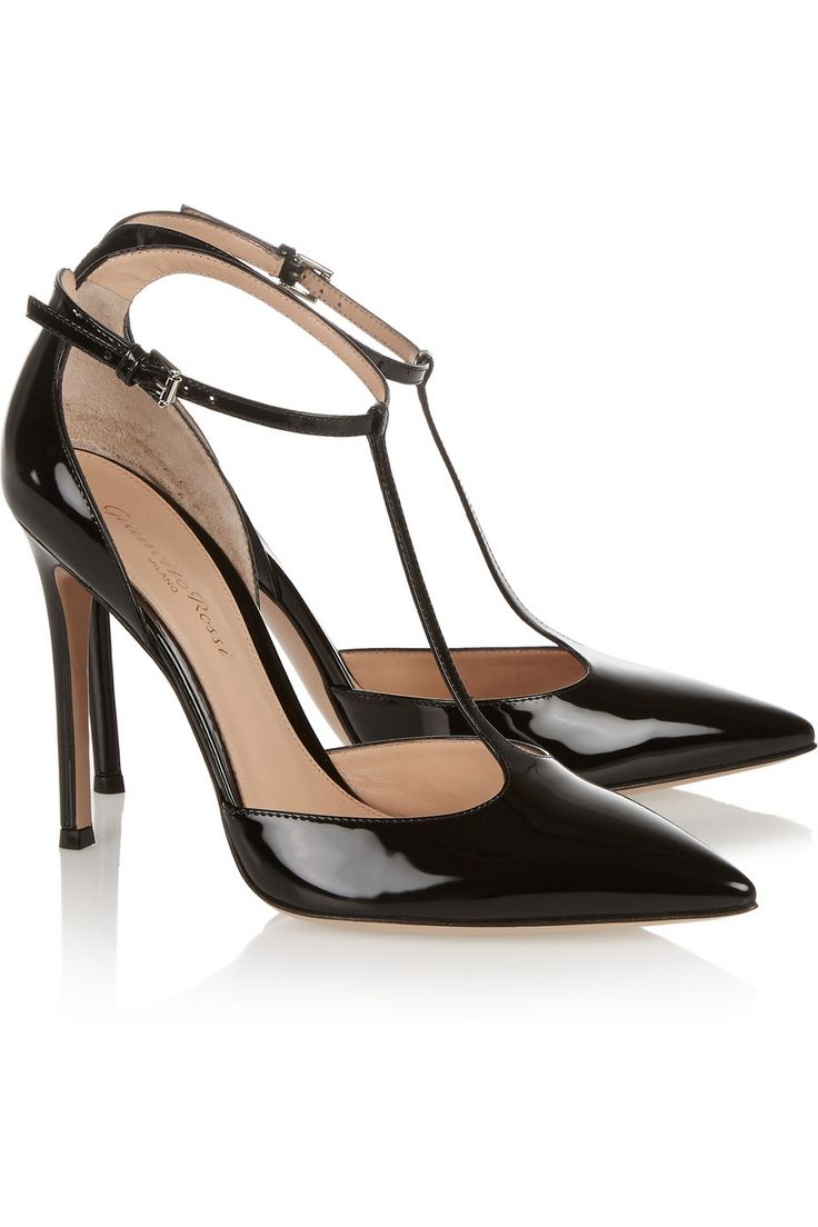 Gianvito Rossi Patent Leather T Bar Pumps 840 Pointed Toe Heelsstiletto
